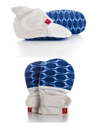 Goumikids - Organic Mitts & Booties Bundle, Soft Stay On Scratch Proof Mittens and Adjustable Baby Booties (Mod/Blue, 3-6 Months)