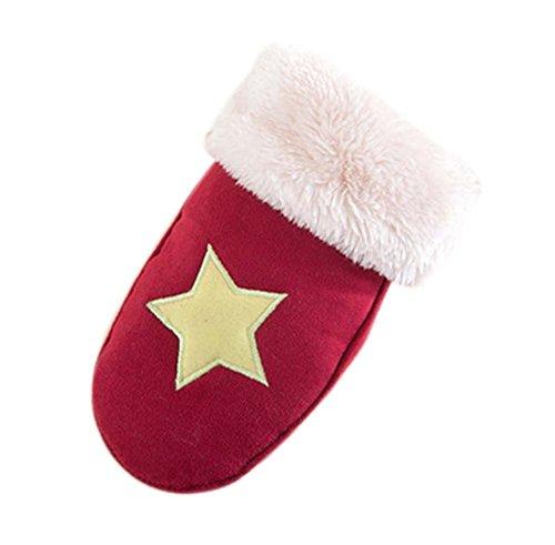 Star Pattern Gloves Kids Gloves Plush Gloves RED Gloves Warm Winter Mittens