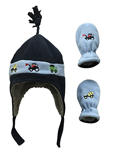 N'Ice Caps Little Boys and Baby Sherpa Lined Fleece Hat Mitten Embroidery Set (6-18mos, Navy/Light Blue Trucks Infant)