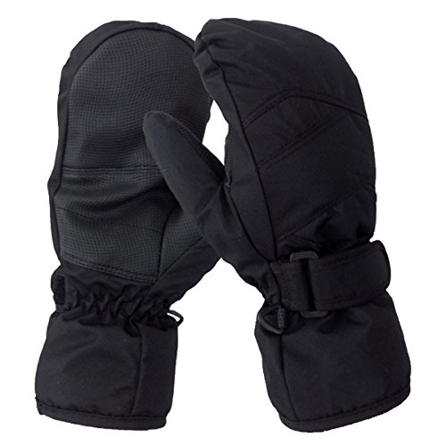 Kids Toddlers Waterproof Winter Sports Ski Mittens Children Velcro Wrist Clips Snow Gloves (S)