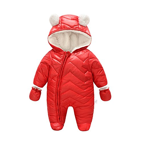 Ding-dong Baby Boy Girl Winter Hooded Puffer Jacket Snowsuit with Gloves(Red,9-12M)