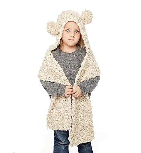 Sumolux Girls Kids Warm Chunky Knit Scarf Hats 2-in-1 Knitted Coif Shawl Scarves Hoods Hat