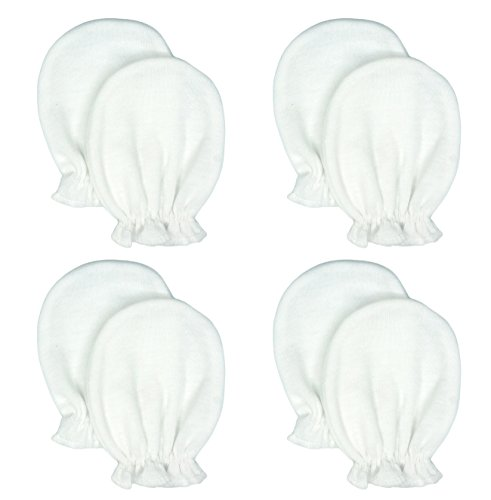 Liwely 4 Pairs Unisex-Baby No Scratch Mittens, 100% Cotton, Solid White