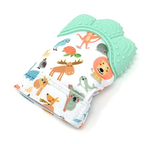 Baby Teething Toy Mitten for Babies Self-Soothing Pain Relief and Teething Glove BPA FREE Food Safe Grade Silicone Teething Mitt (Mint Green Color) - Great Idea for a Baby Shower Gift!