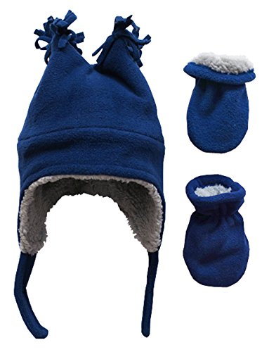 N'Ice Caps Little Boys and Baby Sherpa Lined Fleece Winter Hat and Mitten Set (3-6 Months, Navy Infant)