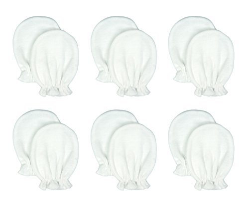 Liwely 6 Pairs Unisex-Baby No Scratch Mittens, 100% Cotton, Solid White