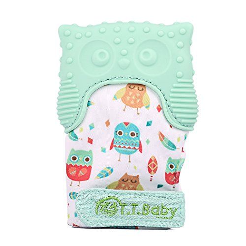Teething Mitten Owl Teething Toy for Babies Self-Soothing Pain Relief and Teething Mitt BPA FREE Safe Food Grade Teething Mitt for 3 Months+ (Mint Green, One Mitten)