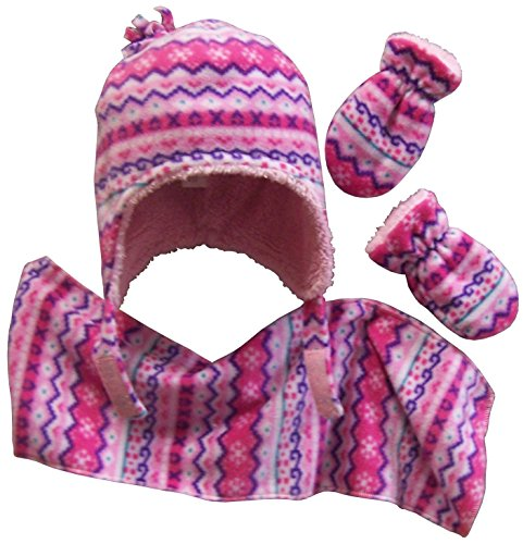 N'Ice Caps Girls Sherpa Lined Fair Isle Printed Fleece Hat/Scarf/Mitten Set (3-6 Months, fuchsia/pink/purple/white/turq)