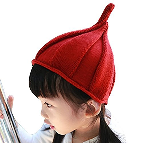 Beaumens 2 Pack Baby Warm Knit Pointed Cute Crochet Twist Hat Unisex Boys Girls Toddler Kids (Blue/Red)