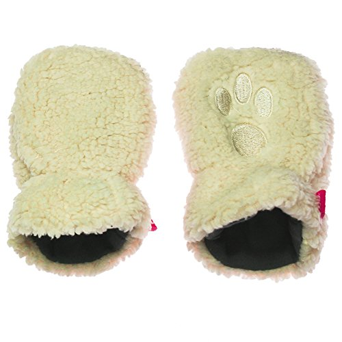 Magnetic Me Lined Winter Warm Fleece Baby Mittens with Magnet Clips 0-6 Cream