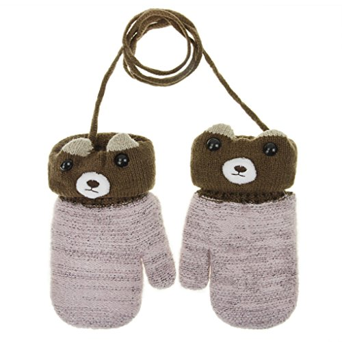 Toddler Children Winter Knitted Magic Gloves Kids Baby Cute Cartoon Bear Wool Warm Thick Fleece Lined Outdoor Ski Thermal Gloves with String Cable Mittens Handwarmer Xmas Gift for Boys Girls Age 1-5Y