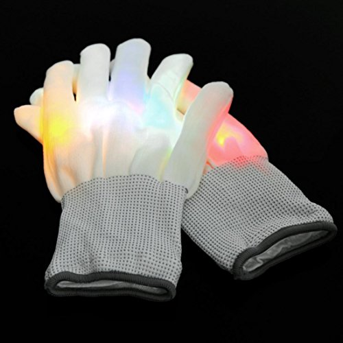 YJYdada Electro LED Multi-Color Flashing Gloves Light Up Halloween Dance Rave Party Fun (Multicolor)