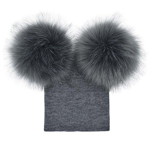 DMZing Infant Kids Baby Girls Boys Crochet Knit Winter Warm Faux Fur Ball Hat Beanie Cap (D)