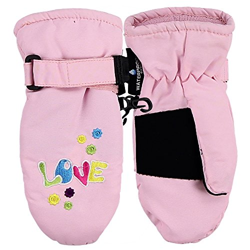 Toddler Girl's Embroidered Winter Mittens - 87135 (Lt Pink Love)