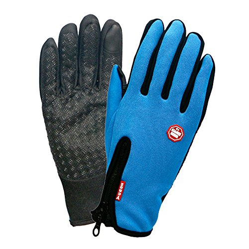 Winter TouchScreen Gloves,Huayang Windproof Riding Zipper Gloves Women Men Skiing Mittens Keep Warm While Use Phone(blue-M)