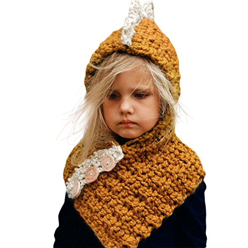 c34573eac54 Wua Baby Kids Warm Winter Hat Crochet Knitted Caps Hood Scarves Skull  Animal Beanies for Autumn Winter (Yellow)