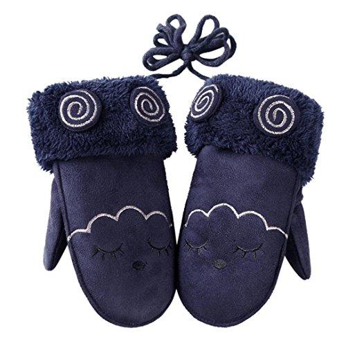 Hongxin Baby Gloves Cartoon Winter Plush Gloves Children Rabbit Eyes Pattern Mittens Soft Full Finger Warm Rope Gloves Kids Gifts (Navy)