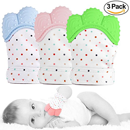3 Pack Baby Teether Mitten - GreaSmart Teething Toy Prevent Scratches Glove Self Shooting Stay on Baby's Hand Pain Relief for Teeth Toys Unisex Newborn Toddles Infants 3-12M