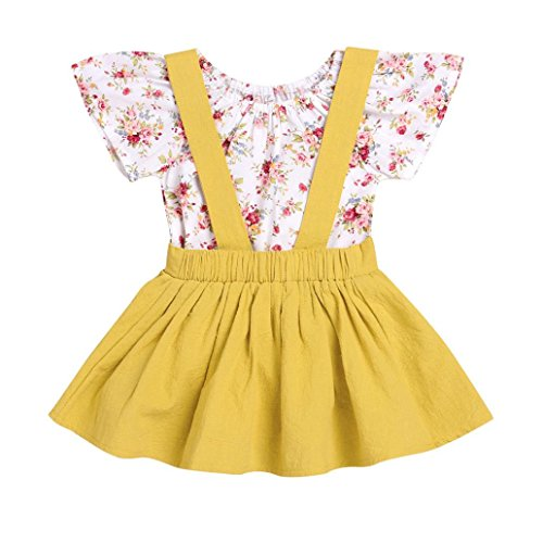 Lisin 2Pcs Infant Baby Girls Floral Print Rompers Jumpsuit Strap Skirt Outfits Set (Size:18Months, Yellow)
