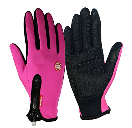 Winter TouchScreen Gloves,Huayang Windproof Riding Zipper Gloves Women Men Skiing Mittens Keep Warm While Use Phone(pink-L)