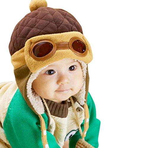 FORESTIMEBoys Winter Warm Cap Hat Beanie Pilot Crochet Earflap Hats 6-12 Months (C)