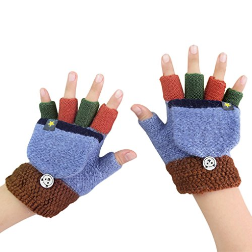 Kids Toddler Thermal Flip Top Gloves Mittens with Mitten Cover Baby Boys Girls Winter Warm Knitted Wool Stretch Half Finger Gloves Teen Children Thicken Warm Cozy Fingerless Hand Wear Gloves
