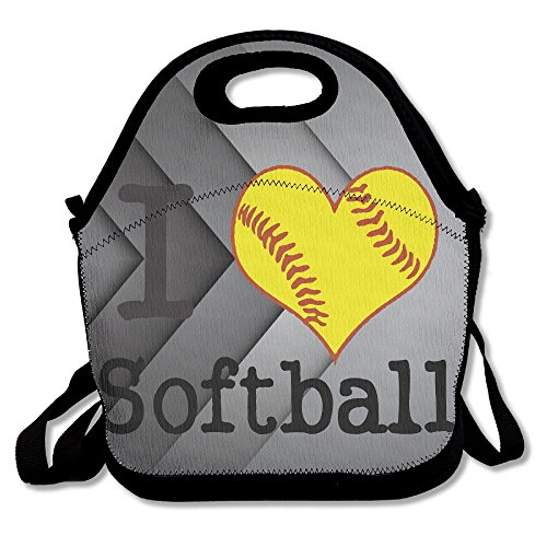 I Love Softball Heat Preservation Durable Lunch Bag For Picnic Large 11.4
