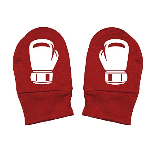 Mashed Clothing - Boxing Gloves - Baby Boy Baby Girl Boxer Gift Thick Premium, Thick & Soft Baby Mittens (Red, White Print)