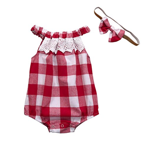Lisin Newborn Infant Baby Girl Plaid Lace Romper Jumpsuit Headband Outfits Clothes (Red, Size:3Months)