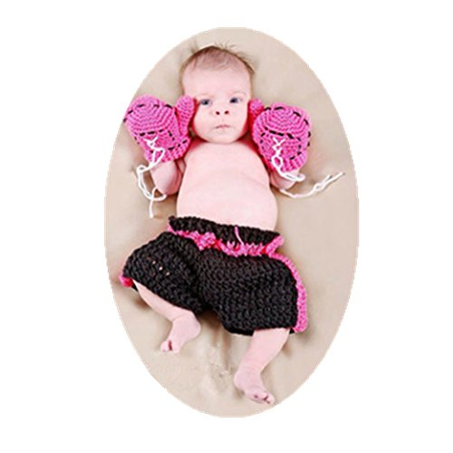 Newborn Baby Photography Props Boy Girl Photo Shoot Outfits Cute Boxing Style Crochet Knitted Costume Glove Pants