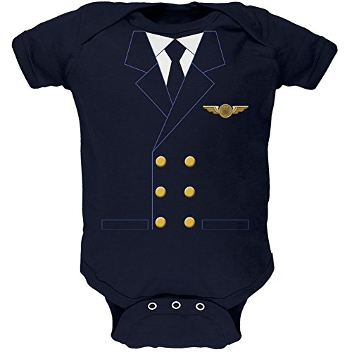 Halloween Airline Airplane Pilot Navy Soft Baby One Piece - 0-3 months