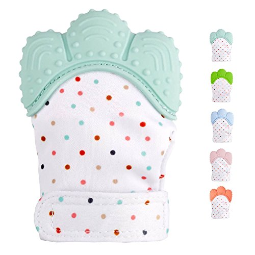 Teething Mitten for Infants, Baby Boys&Girls :: Silicone Teething Mitt Teether Gloves BPA Free :: Hombae Self-Soothing Pain Relief Mitt, Teething Toys, Ideal Baby Shower Gift (Mint Green)