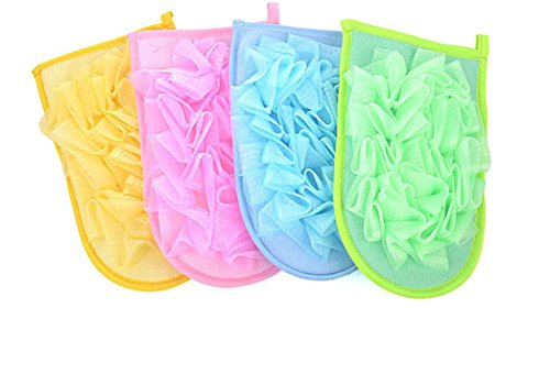 YJYdada 1PC New Random Color Double-sided Bath Gloves With Flower Shower Body Scrubber