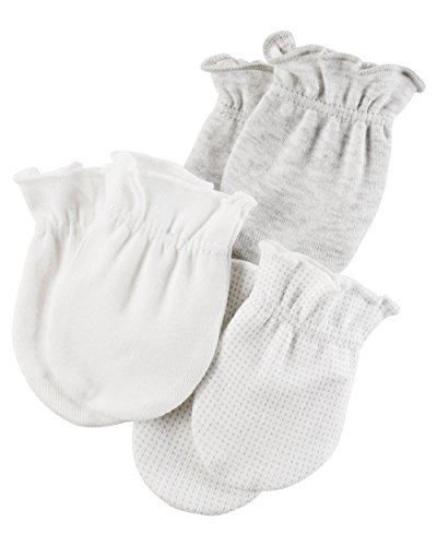 Carter's Baby 3-Pack Mittens Set,0/3Months,White/Gray