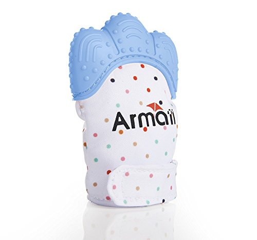 Armati Hygienic Teething Mitten, with 100% Cotton + Waterproof & Breathable Food Grade Rubber + A Velcro Strap, for 3-12 Months Babies Kids Self-Soothing Pain Relief Soft Chew - Blue