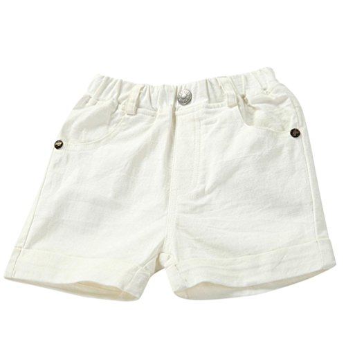 Lisin Summer Infant Toddler Kids Girls Boys Fsshion Solid Shorts Pants Beach Shorts Clothes (White, Size:3Years)