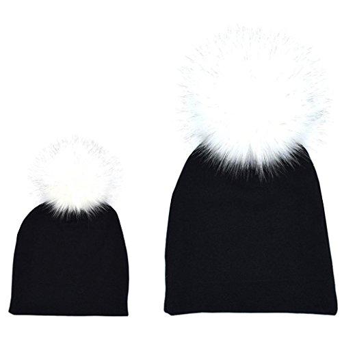 FORESTIME 2PCS Mom Mother+Baby Crochet Knit Winter Warm Faux Fur Hat Pom Beanie Cap (Black)
