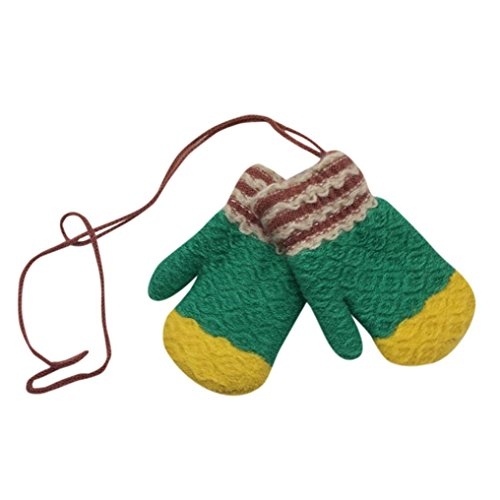 Hongxin Snowflake Winter Baby Gloves Cartoon Warm Kids Mittens Knitted Cotton Baby Gloves For Girls Boys Crochet Mittens Baby Accessories (Green)
