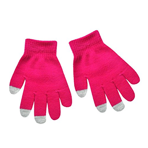 Hongxin Lovely Candy Colors Children Kid Knitted Gloves Solid Colors Full Finger Stretch Knit Gloves Spring Autumn Mittens Best Gift (Hot Pink)