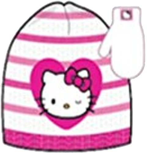 Girls 'Hello Kitty' Pink Winter Hat and Mittens Set