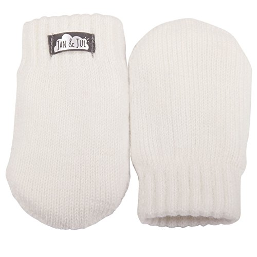Baby toddler girl warm fleece lined thumbless knit mittens for fall winter (Mitten S: 0-9m, Creamy white)