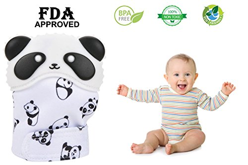 Baby Teething Mitten for Babies--Soothing Pain Relief and Teething Glove BPA FREE Safe Food Grade Teething Mitt (Panda pattern)