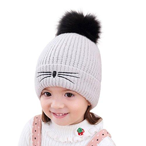 Baby Kids Winter Autumn Knitting Wool Crochet Hat Littleice Boys Girls Infant Warm Soft Hat Cap (Gray)