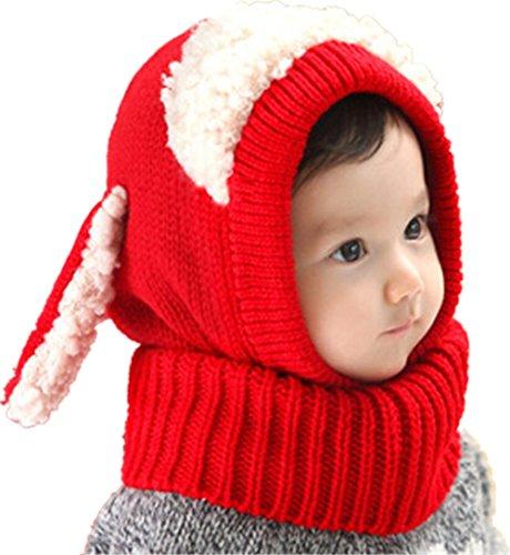 Winter Warm Boys Wool Acrylic Hat/Scarf Set Cute Knitted Hat Scarf Red Cute Dog