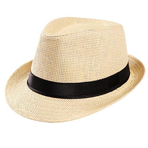 YJYdada Unisex Trilby Gangster Cap Beach Sun Straw Hat Band Sunhat (Beige)