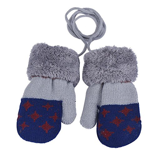 Baby Gloves,Amamary88 Cute Baby Boy Leaf Girl Keep Warm Glove (Dark Blue)
