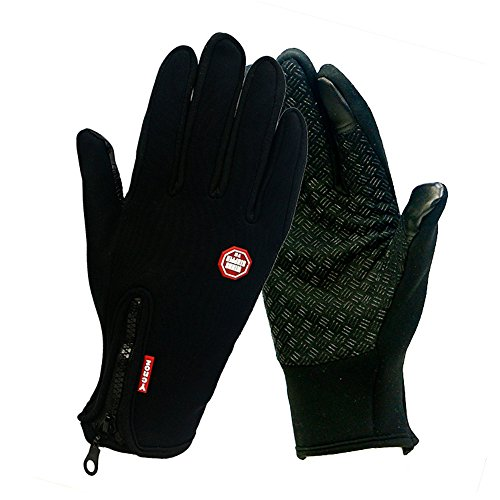 Winter TouchScreen Gloves,Huayang Windproof Riding Zipper Gloves Women Men Skiing Mittens Keep Warm While Use Phone(black-M)