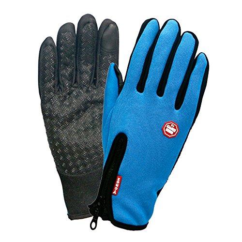 Winter TouchScreen Gloves,Huayang Windproof Riding Zipper Gloves Women Men Skiing Mittens Keep Warm While Use Phone(blue-L)