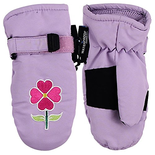 Toddler Girl's Waterproof/Thinsulate Lined Winter Mittens (2-4, Violet Flower)