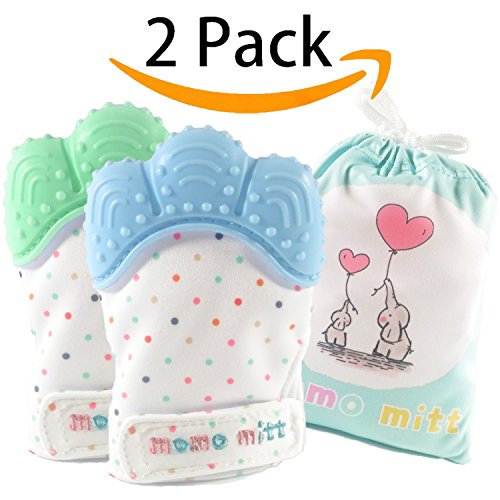 Baby Teething Mittens for Babies Soothing Pain Relief ,Teething Mitt Teether Gloves BPA Free, massage teether Mitt, teething Toys, infant for 3-12 months baby(Blue+Mint Green)